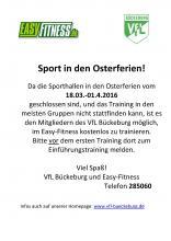 Training für VfL-Mitglieder im Easy Fitness in den Osterferien